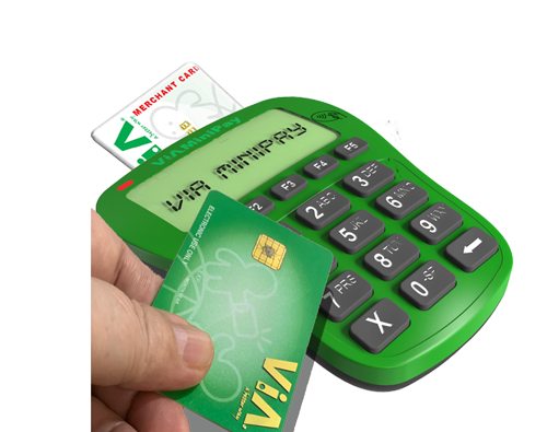 MiniPay terminal with a Vendor smart chip card and a user with a ViA card held above the terminal to make a payment